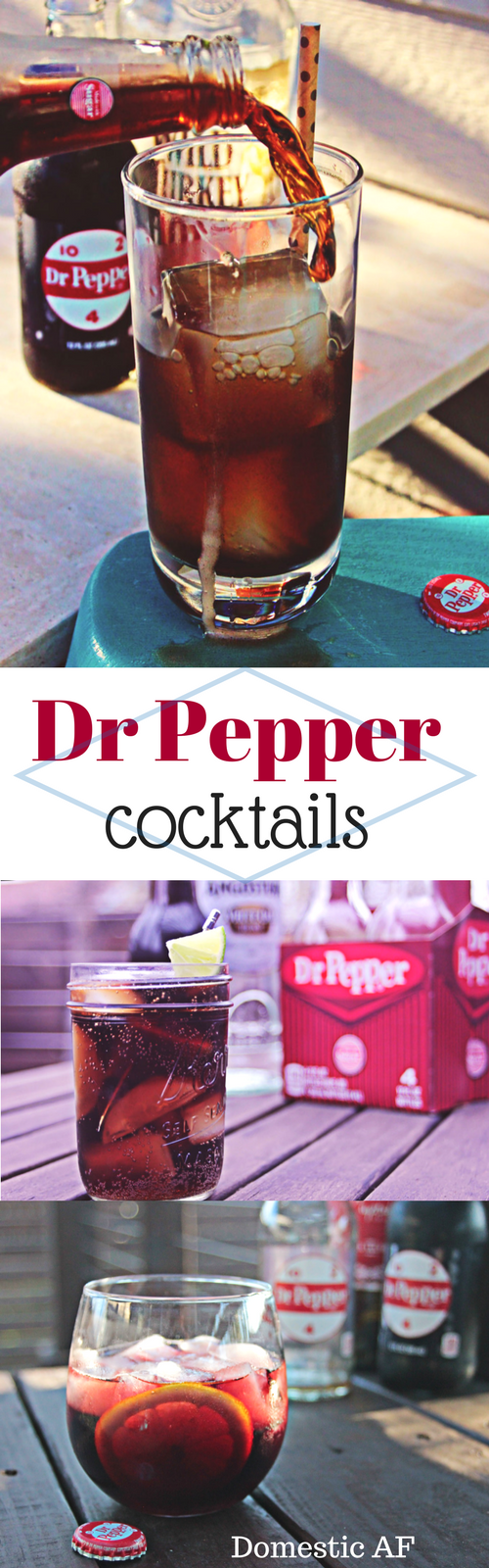 Three great cocktail recipes featuring Dr Pepper as the main (or only!) mixer. Dr Pepper versions of a Cuba Libre (rum & coke), Jack & Coke (with whiskey!), and Kalimoxto -- an amazing wine cocktail.